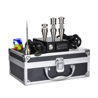 aluminium tool kit - 2016 New Electric E Dab Nail Box Complete Kit Aluminium Case Gr2 Titanium Nails Carb Cap kit Temperature Controller E Dab Nail Dabber Tools