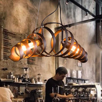 Wholesale Retro Vintage Wine Barrel Ring Pendant Lights Industrial Lustres Pendant Lamps Restaurant suspension luminaire Home Lighting E27