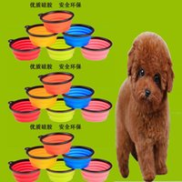 Wholesale Fashion Silicone Pet Dog Cat Feeding Bowl Collapsible Water Dish Portable Feeder Puppy Travel Bowls