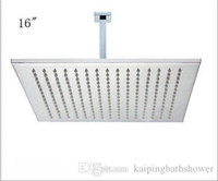Wholesale 16 quot square rainfall shower head with cm brass square shower arms