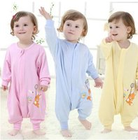 Cheap Spring and summer single knitted cotton print cartoon barhop infants baby pajamas playing is children's sleeping bags