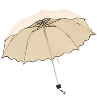 automatic lotus - 2014 Newest Flouncing Folding Lotus Leaves Wave Princess Dome Parasol Sun Rain Women Lady Umbrella