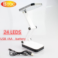Cheap Wholesale-Two stalls lighting USB power supply or install 3 AA batteries 24 LEDS high light Folding desk lamp white light table lamp Read