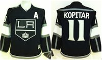 angeles kid - Los Angeles Kings Kids Jerseys ANZE KOPITAR Black Ice Hockey Jerseys Stitched Name Number and Logos