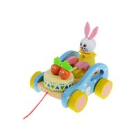 Wholesale lovely multicolor rabbit for baby learning walk pull cart wooden toy safety and non toxic baby best gifts toy toddler play dolls