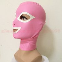 Wholesale Women Mans Pink Latex Hood Unisex Sexy Rubber Transvestism Mask LM058A