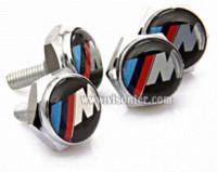 Wholesale Freeshipping New Metal M EMBLEM Logo LICENSE PLATE FRAME Caps BOLTS Screws screw frame pump