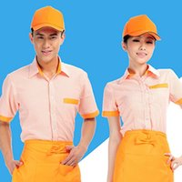 Wholesale Wolesale Working Clothes Food Service Restaurant Waiter Waitress Uniform Summer Hotel Chef Jacket Short Sleeve Coat with Apron UC0037