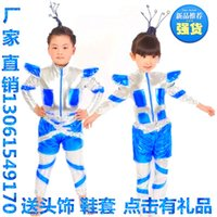 Wholesale Children robot performance clothing xiao he style children s space suit I love robot astronaut environmental space suit