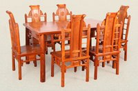 african table setting - 7pcs sets African rosewood PterocarpuserinaceusPoir dinner table chairs solid rosewood furniture