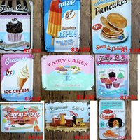 Wholesale Vintage Metal Painting Tin Sign Cake Food Design Home Decor House Bar Pub Cafe Restaurant Beer Poster Paintings Retro Wall Art Craft