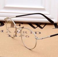 Wholesale LJJL214 Unisex Full Rim Metal Eyeglasses Frame Spectacle Plain Optical Glasses Fashion Vintage Women Round Glass Pieces