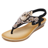 aa wraps - New Fashion shoes Ethnic Style Women Sandals Bohemian Diamond Flat Big Yards Ladies Shoes Low heeled breathable women sandals