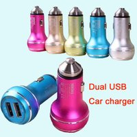 Wholesale USB Car Charger Colorful Mini Car Charge LED Light Universal Adapter For iPhone iPad Samsung S7 DHL CAB146