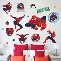Wholesale 3D popular handsome HERO Spiderman Cartoon Movie kids room decal wall sticker adesivo de parede boy gifts stickers