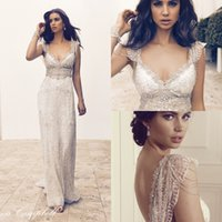 other Sleeveless A-Line 2016 Lace Boho Summer Backless Wedding Dresses Cap Sleeves Crystal Beading Luxury Sexy Beach Bridal Party Gowns Custom Made