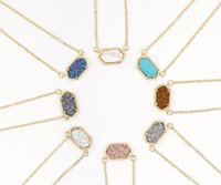 alloy brass - 2016 Hot Popular Kendra Scott Druzy Necklace Various Colors Gold Plated Geometry Stone Necklaces Best for Lady Mix Colors