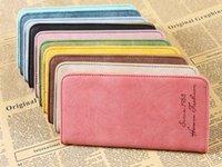 Wholesale Cheap Clutch Purses Leather - bulk wholesale vintage Leather wallets for lady retro matte leather long wallet 10pcs a lot cheap purse Z&M864