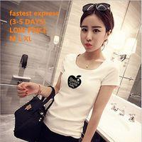 Wholesale Brand New Summer Women s White Short Sleeve Top T shirts Cotton Patterns