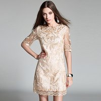 Wholesale New arrival fashion high end luxury lace embroidery thin short sleeved dress