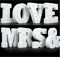 alphabet display letters - Hot White wooden letter LED Marquee Sign Alphabet LIGHT UP night light Indoor WALL Decoration Wedding Party Window Display Light