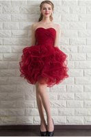 Wholesale Wedding Dress Red Chinese Style Ball Gown Short Section Sexy Elegant Strapless Evening Dress Plus Size