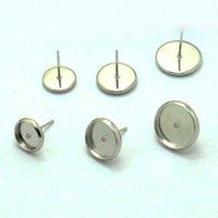 bezel round earrings - Blank Earrings Settings Round bezel Cabochon bases SUS304 stainless steel stud Earrings post Findings mm mm mm mm mm