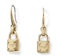 best lock brand - MK Michael Kores Fashion Elegant Famous Brand lock Earrings For Women Jewelry Best Gift Color Gold Silver Rose Gold