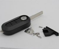 batteries key blanks - Car Key Shell Fob Buttons Flip Folding Remote Key Case Blank Cover Fit For Fiat Panda Punto Bravo with battery contact