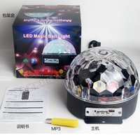 Wholesale V MP3 with USB disk with remote control sound stage light stage magic crystal ball light lamp KTV party disco lights