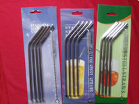 beer pack - 304 Stainless Steel Straw Metal Drinking Straw Beer Juice Straws Cleaning Brush Set Retail Packing Kit Fits Yeti Tumbler Rambler Cups