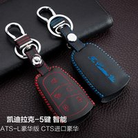 ats autos - For Calldilac ATS L CTS Buttons Smart High Quality Hand Sewing Genuine leather Remote Control Car Key chain Car key cover Auto Accessories