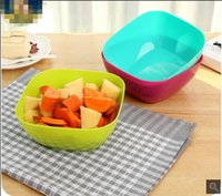 Wholesale Fruit salad bowl of food grade plastic square melon fruit dish B582 snacks candy dish three colors