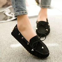 Wholesale Candy Canvas Shoes Women - Women Flat Shoes 2016 Fall Candy Color Bowknot Tassel Slip-on Ballet Shoes Casual Round Toe Loafer Flats Zapatos Ladies Shoes