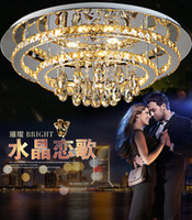 Wholesale LED round crystal ceiling living room lights cloakroom luxurious new stainless steel lamp factory outlets