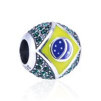 olympic flag - GW Brasil Flag Charm with green crystal made from silver fit European bracelets for rio Brazil Olympic gifts No70 lw D181