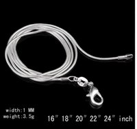 Wholesale Retail Big Promotions Sterling Silver Smooth Snake Chain Necklace Lobster Clasps Chain Jewelry Size mm