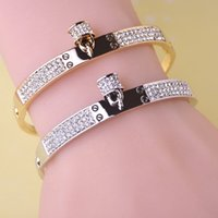 Wholesale Luxurious Crystal Fine Jewelry Lock Lovers Bangles Stainless Steel Love Bracelet K Gold Plated Charm Top Famous Brand Jewelry L585