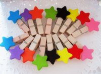 Wholesale Freeshipping New Cute colorful star Wooden Clip Bag Paper Clip Special Gift Fashion