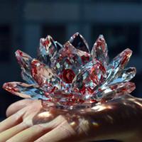 venda por atacado flores naturais-Frete grátis Shinning K9 pedras naturais Minerais Cristal Lotus Flower Crafts Fengshui Para Casa do presente de casamento Decoração