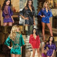 babydoll lingeries - Women Sleepwear Chemise Babydoll Lingerie Nightie Dress Sexy G string Underwear Sleepwears Satin Lace Sexy Lingeries Nightdress Robe Bedgown
