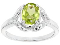 american accents - 1 ct Oval Peridot With ctw Round White Four Diamond Accent Sterling Silver Ring