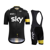Wholesale Yellow Black sky New Arrival Cycling Jersey Set Short SleeveCycling Clothes With Cycling Jersey Padded Bib None Bib