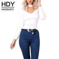 Wholesale HDY Haoduoyi Woman Fashion Colors Choker V Neck Long Sleeve Pullover Top Knitted Sweater