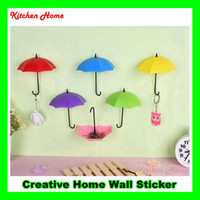 Wholesale 3PCS Set Creative DIY D colorful umbrella design hook home decoration wall sticker kitchen bathroom holder for small obgects