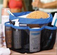 bath totes - 8 Pockets Full Mesh Shower Caddy Blue Storage Bag Quick Dry Shower Tote Bath Organizer Hanging type Bath storage bag