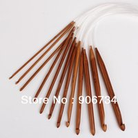 bamboo knitting needles free shipping - New High Quality Bamboo Crochet Hooks Knitting Needles Knit Weave Craft Tool Set Sizes CM