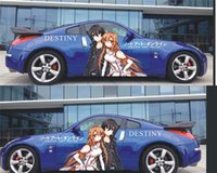 asuna car - Set Anime Sword art online SAO sexy Girl Asuna Full Color Graphics Adhesive Vinyl Sticker Fit any Car Side
