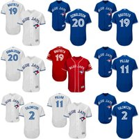 Wholesale Men s Toronto Blue Jays Tulowitzki Encarnacion Josh Donaldson Bautista Pillar baseball jerseys Stitched