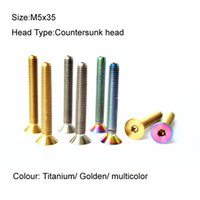 allen alloys - 10Pcs Titanium Ti M5x35 Countersunk head Allen Head Screw bolt bicycle bike Titanium Golden Multicolour